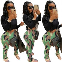 Sexy camouflage printed hips, pleated elastic cotton pants LM8134