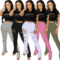 Explosive nightclub clothes ripped solid color sweater fabric pleated split micro la sweat pants GL6256