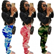 Women's camouflage temperament casual mid-waist raised hip elasticated pants LML090
