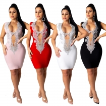 Women's fashion sexy deep V hollow sleeveless tight bandage dress AJ4107