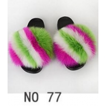 Wear beach shoes PVC men and women real fur grass fox fur slippers 1NO11