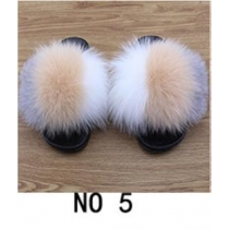 Fashion non-slip outer wear fur casual flat heel beach shoes fox fur female sandals and slippers 2NO21