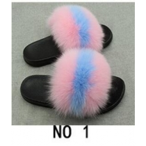 Wear beach shoes PVC men and women real fur grass fox fur slippers 3NO11
