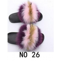 Fashion non-slip outer wear fur casual flat heel beach shoes fox fur female sandals and slippers 3NO22
