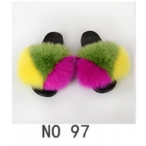 Fashion non-slip outer wear fur casual flat heel beach shoes fox fur female sandals and slippers 4NO22