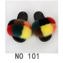 Fashion non-slip outer wear fur casual flat heel beach shoes fox fur female sandals and slippers 5NO21