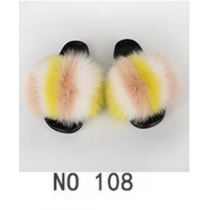 Fashion non-slip outer wear fur casual flat heel beach shoes fox fur female sandals and slippers 6NO21