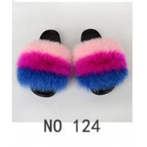 Fashion non-slip outer wear fur casual flat heel beach shoes fox fur female sandals and slippers 7NO21