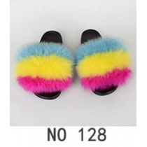 Wear beach shoes PVC men and women real fur grass fox fur slippers 7NO11