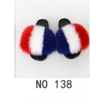 Fashion non-slip outer wear fur casual flat heel beach shoes fox fur female sandals and slippers 8NO21