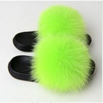Fashion non-slip outer wear fur casual flat heel beach shoes fox fur female sandals and slippers SC2017111