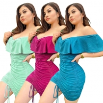 Dress solid color sexy pleated drawstring ruffled nightclub skirt MY9636