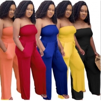 Sexy tube top solid color jumpsuit L0304