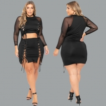 Perspective tight-fitting sexy short dress straps plus size women's suits OSS20528