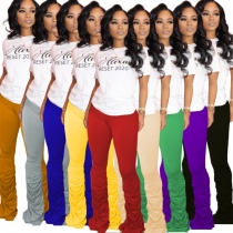 Solid color high-stretch pleated micro-flare casual track pants  LA3183