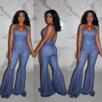 Strap U-neck halter sexy stripe denim flared jumpsuit LA3185