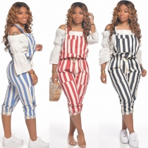 Spring and summer new cute street striped drawstring jumpsuit M6138