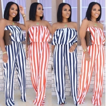 Summer new stripe print ruffled sexy wrap chest open back jumpsuit MH5005