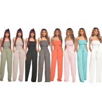 Women's casual flat shoulder wrap chest wide leg jumpsuit TS1035
