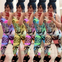 Cute and colorful leopard 5-color printed jumpsuit trousers ALS185