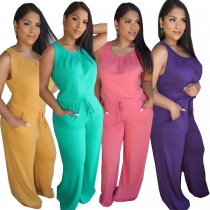 Fashionable casual solid color loose jumpsuit W8266