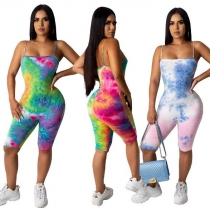 Fashionable casual tie-dye suspender jumpsuit summer dress W8269