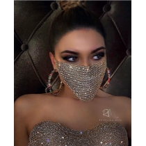 Nightclub birthday party decoration mask shiny water diamond metal mask CHP16