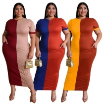 Contrast color tight long sexy large size women's dress OSS20703