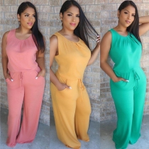 Loose pleated solid color leisure home two-piece suit BN7085