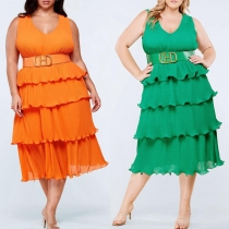 Pleated layered dress without belt YF1165