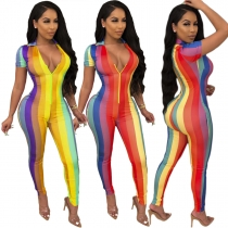 Color printed women's deep V sexy short sleeve jumpsuit YY5180