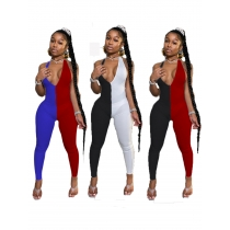 Two-color stitching deep V backless sexy jumpsuit R3050