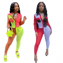 Multicolor stitching shirt two piece set R3077