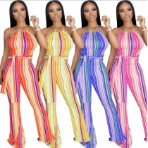 Sexy Striped Printed Suspender Flared Jumpsuit KZ134