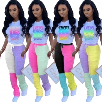 Casual Letter Printed T-Short Four Color Stitching Trousers Two Pieces Sets KZ136