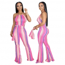 Sexy Striped printed Suspenders Flared Jumpsuit YZ1196