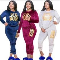 Casual Letter Printed Round Neck Long Sleeves T-Shirt With Drawstring Trousers Plus Size Two Piece Set OSS20865