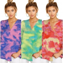 Fashion Tie Dye Printed V-Neck Long Sleeve Loose T-Shirt MD371