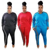 Casual Contrast Round Neck Long Sleeves T-Shirt With Trousers Plus Size Two Piece Set YFS1293