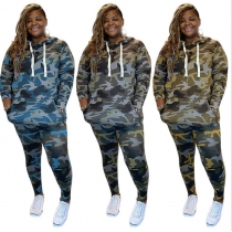 Casual Camouflage Printed Long Sleeves Hooded Sweater With Trousers Two Piece Sets OSS20935