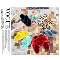 Cute Cross Strap Plush Slippers Plus Size Shoes HWJ309
