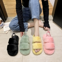 Colorful Heel Strap Soft Plush Thick Soled Fur Slippers Plus Size Shoes HWJ321