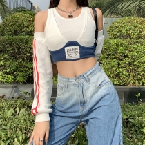 Fashion Stitching Off Shoulder Long Sleeves Short T-shirt K20S09389