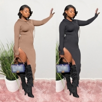 Fashion Solid Color Long Sleeves Zipper High Split Hooded Midi Dress S6260
