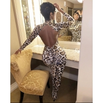 Sexy Leopard Printed High Collar Long Sleeves Backless Midi Dress FF1069