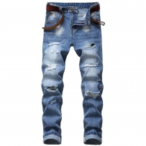Men's ripped jeans Slim-fit straight multi-holes non-stretch cotton men's denim trousers TX002
