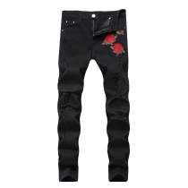 Fashion Rose Flower Embroidered Ripped Stretch Jeans TX1855