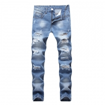 Men's ripped jeans light blue trendy straight slim fit big ripped TX405