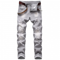 Men's ripped jeans gray slim straight men's non-stretch trousers TX958