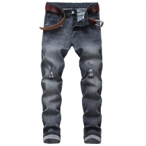 Men's ripped stretch jeans black gray straight-leg slim fit men's TX962